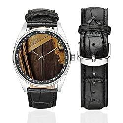 Compass Decor Casual Leather Strap Watch,Antique Brass Compass and Rope Over Old Map on Wooden Timber Table Illustration for Men,Case Diameter:1.57