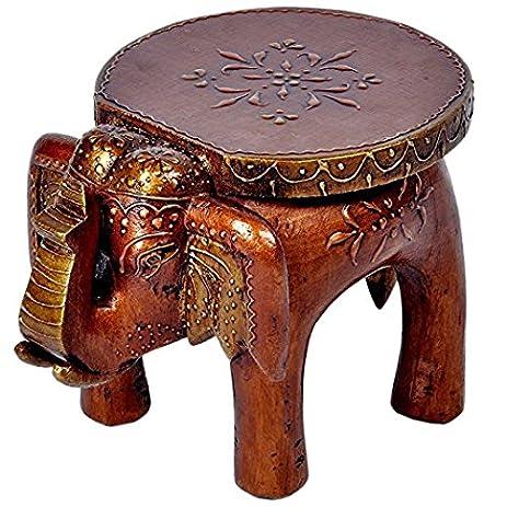 JGARTS Wooden Elephant Stool Handicraft Gift Baby Sitter