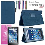 """Amazon Fire 7"""" 2017 Case, EpicGadget(TM) 7th Generation Fire 7 Premium PU Leather Folding Folio Case with Built in Stand For Fire 7 inch (2017 Release) + 1 Screen Protector and 1 Stylus (Navy Blue)"""
