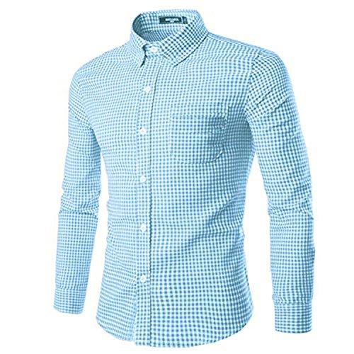 (NUTEXROL Mens Dress Shirts Plaid Cotton Classic Slim Fit Long Sleeve Shirts Sky Blue 3XL)