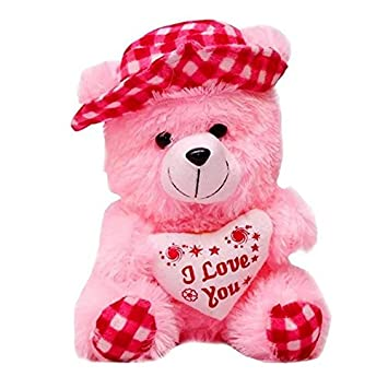 LVS TOYS Stuffed Soft PIush Toy Love Teddy Bear (30 cm) Pink