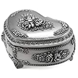 AVESON Classic Vintage Heart Shape Metal Jewelry Box Ring Trinket Storage Organizer Chest Christmas Gift, Small