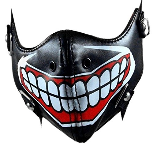 sxbest 1 Pack Steampunk Mask Biker Men Half Face Mask Airsoft Wind Cool Punk Rivets Black Masquerade Mask