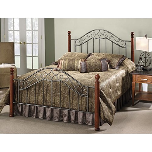 Hawthorne Collections Full Poster Spindle Bed in Smoke Silver