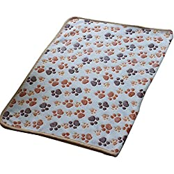 Wouke Pet Blanket, Puppy Soft and Warm Fleece Mat Sleep Pad Bed Cover with Paw Print for Kitten Dog