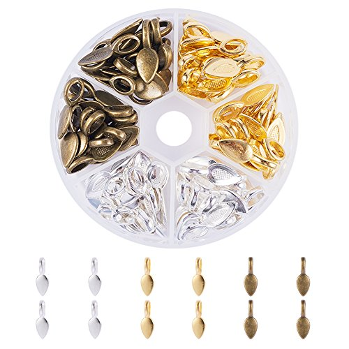 PandaHall Elite 100 Pcs 3 Colors Tibetan Style Alloy Glue on Flat Pad Bails Leaf Shape Pendants Charms Connector Hanger 21x8x6mm for Jewelry Making, Golden/Silver/Antique Bronze