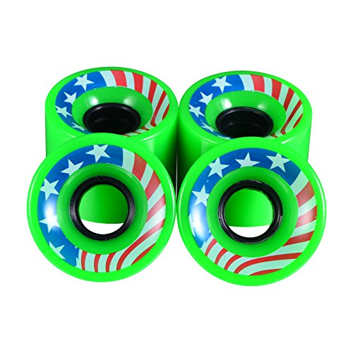 Wheely Wild Skateboard Wheels - 59mm 78a - Great for Cruiser, Penny & Longboards - Patriotic American Flag Design - Best Quality Skate Board Gear - Classic Style - Fun Cool Gift - Set of Four (Green)