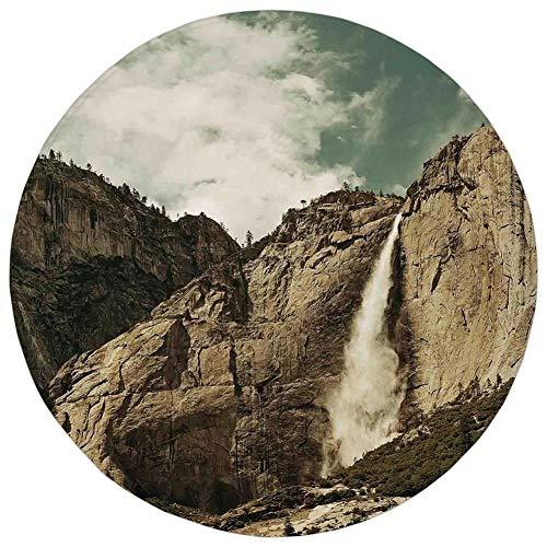 Round Rug Mat Carpet,Yosemite,Waterfalls in Yosemite National Park California Famous Travel Destination,Brown Reseda Green,Flannel Microfiber Non-Slip Soft Absorbent,for Kitchen Floor Bathroom