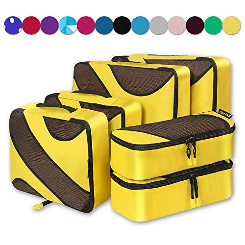 6 Set Packing Cubes,3 Various Sizes Travel Luggage Packing Organizers (Yellow)]()