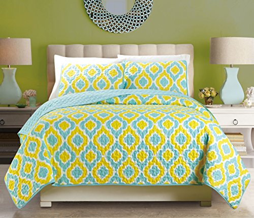 Awad Home Fashion 3 Piece Geometric Quilt Bedspread Coverlet Set Vibrant Yellow and Sky Blue Pattern, QS-25 (California King) (Quilt Geometric compare prices)