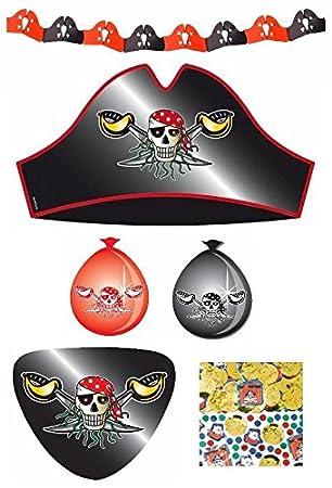 Partyset Roter Pirat für 8 Kinder Hüte Augenklappen Schatztruhen Luftballons