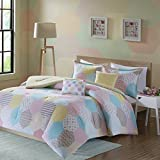 Urban Habitat Kids Trixie Full/Queen Comforter Sets For Girls - Pink Yellow Teal, Geometric – 5 Pieces Kids Girl Bedding Set – Cotton Childrens Bedroom Bed Comforters