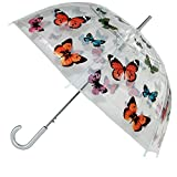 CTM Women's Butterfly Print Clear Bubble Stick Umbrella, Clear