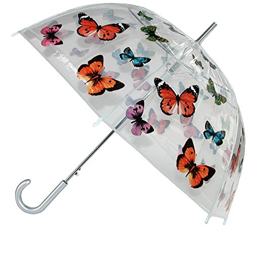 CTM Women's Butterfly Print Clear Bubble Stick Umbrella, Clear ()