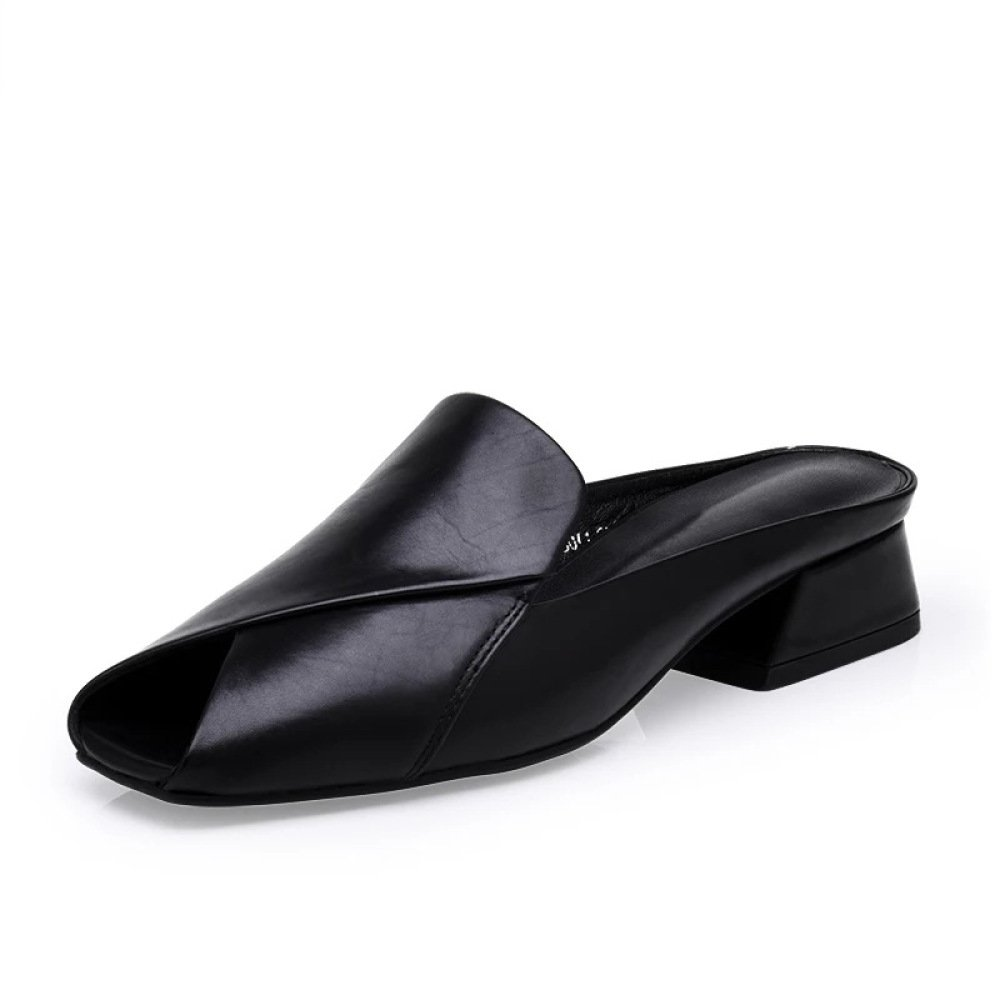 YXLONG Sommer Neue Stil Schuhe Europa und Amerika Leder Lauml;ssig Damen Sandalen Hausschuhe Quadratischen Kopf mit Wilden Weiblichen Fisch Mund Hausschuhe  36|Black