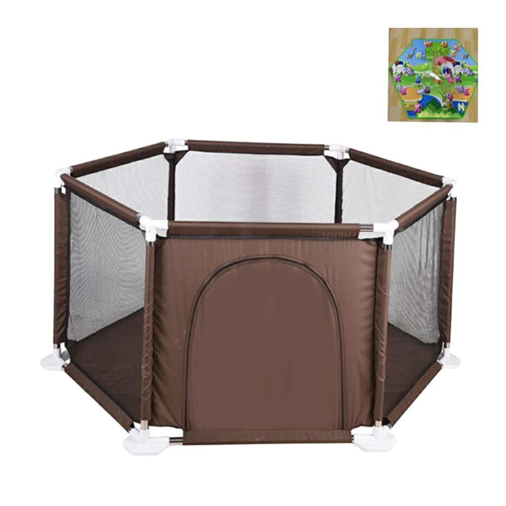 衝撃特価 クロールマット -、男の子とギルズの屋内と屋外の簡単な組み立てフェンスと茶色の携帯用六角形のベビーサーペン - ブラウン ブラウン B07QJZX347, イドサワ:5eb2fcda --- a0267596.xsph.ru