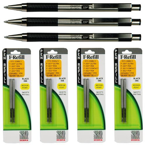 Zebra F-301 Pens with Refills, Black Ink, 1.0mm Medium Point,