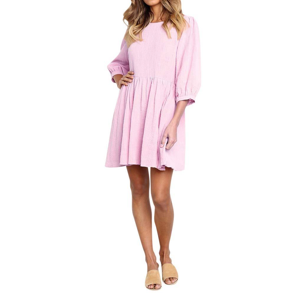 Goosuny Schöne Kleider Damen Einfarbig Halbarm Rundhals Kleid Abend Party Minikleid Loose A Line Sommerkleider Knielang Partykleider Frauen Beiläufiges Strandkleid
