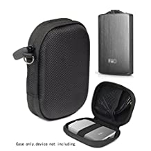 Headphone Amplifier Case for FiiO A3, FiiO Q1, Creative Sound Blaster E1, E3, TOPPING NX1s, SMSL Audio Sap-5, mesh pocket for cable, fastening elastic strap, wrist strap Ballistic Black