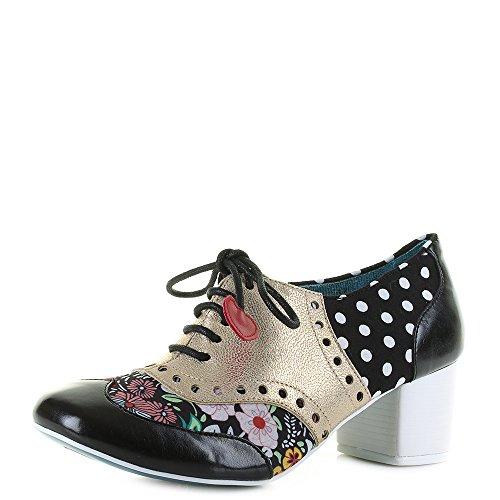 Irregular Choice Suede Heels - Irregular Choice Womens Clara Bow Oxfords Love Hearts Pretty Heels - Black/Gold - 10