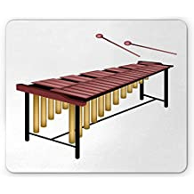 Lunarable Marimba Mouse Pad, Illustration of a Percussion Instrument with Wooden Bars Beaters, Standard Size Rectangle Non-Slip Rubber Mousepad, Dried Rose Sand Brown Black