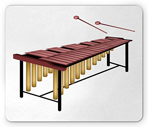 Marimba Mouse Pad by Lunarable, Illustration of a Percussion Instrument with Wooden Bars and Two Beaters, Standard Size Rectangle Non-Slip Rubber Mousepad, Dried Rose Gold Black