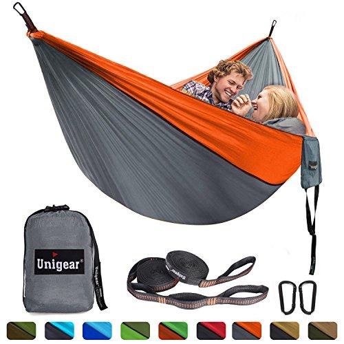 Unigear Hammock, Single & Double Camping Hammock, Portable Lightweight Parachute Nylon Hammock with Tree Straps for Backpacking, Camping, Travel, Beach, Garden (Orange/Gray)