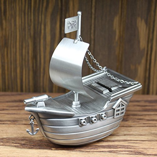 Pirate Ship Bank - Center Gifts Pewter Finish Pirate Ship Piggy Bank Engraved | Custom Money Saver, Coin Bank for Kids and Children | Great Gift for Kid's Birthday, Christening, Baby Shower| Personalize with Name