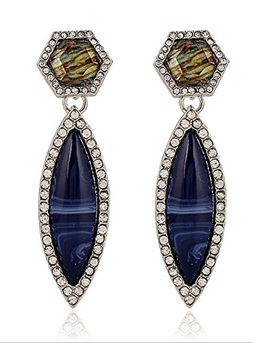 [Darkey Wang Woman Fashion Jewelry National Wind Exaggerated Blue Water Drop Gemstone Earrings] (Vietnam National Costume For Boys)