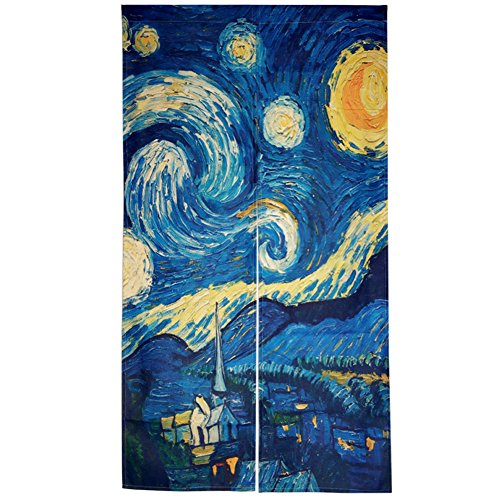 Night Door Curtain - DIPPERION Doorway Curtain Japanese Noren Curtain Tapestry The Starry Night Door Way Curtain Fitting Room Curtain Partition Curtain Door Hanging Tapestry