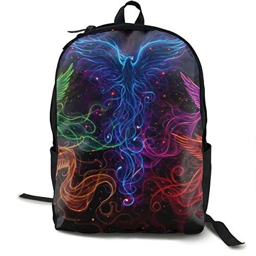 (Colorful Fire Flame Phoenix Black Rucksack With Smooth Zippers, Traveling & Camping Backpack Large Capacity School Shoulder Book Bags Multipurpose Anti-Theft Shoulder Bag)