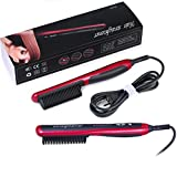 flat iron hair comb - REBUNE Hair Straightener Comb with PTC Ceramic Heating Elements and 6 Levels of Temperature Control