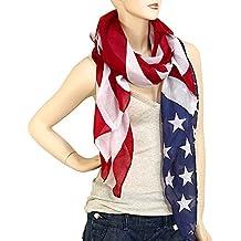 "Falari Large USA American Flag Scarf Beach Wrap Soft Lightweight 72"" X 36"""