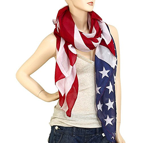 Falari Large USA American Flag Scarf Beach Wrap Soft Lightweight 72