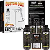 U-POL Raptor Black Urethane Spray-On Truck Bed Liner Kit w/FREE Custom Coat Spray Gun with Regulator, 4 Liters