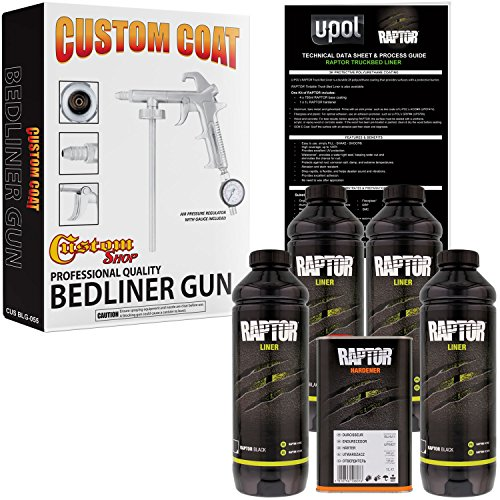 U-POL Raptor Black Urethane Spray-On Truck Bed Liner Kit w/FREE Custom Coat Spray Gun with Regulator, 4 Quart Kit