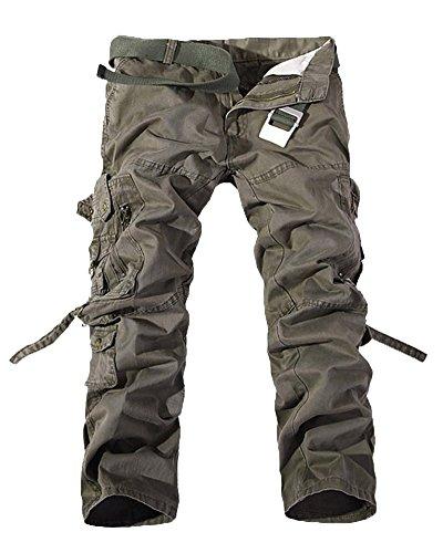 Hombre Cargo Con Verde Pantalon Transpirable Del Pantalones Casual Bolsillos Ejército Rectos rAqSr