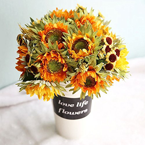 Lvydec 2pc Artificial Sunflower Bouquet – 10 Silk Flower Head Vintage Fake Flower with Wheat and Chrysanthemum Decoration for Home Wedding