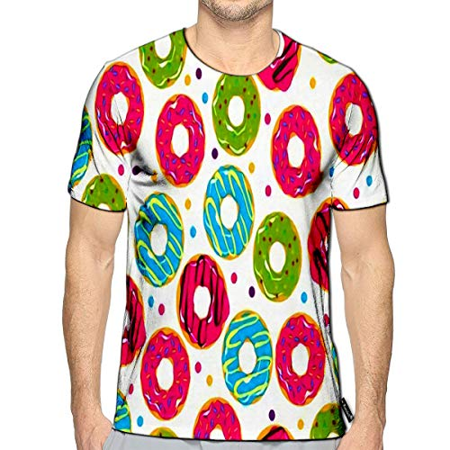 - T-Shirt 3D Printed Glazed Doughnut Colored Chocolate Vanilla Donut Food Bakery S