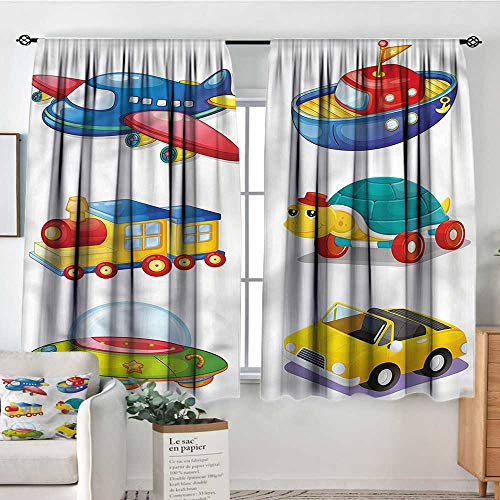 RenteriaDecor Boys Room,Patio Door Curtains Ight Bocking UFO Space Ship Train 42