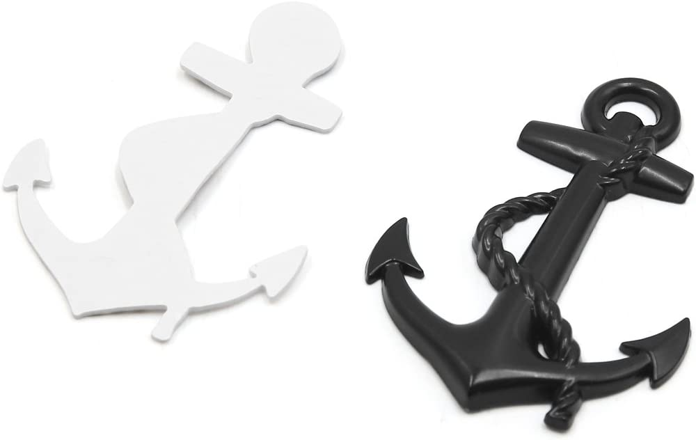 uxcell Black Metal Boat Anchor Shape Car Auto Exterior Decor Sticker Adhesive Decal