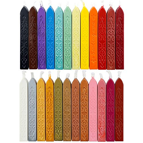 24 Pieces Antique Sealing Wax Sticks with Wick for Postage Letter Retro Vintage Wax Seal Stamp,Assorted Colors