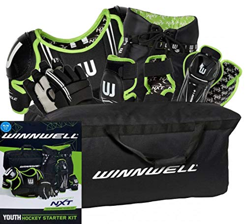 WINNWELL NXT YOUTH HOCKEY STARTER KIT (Medium) (Best Youth Hockey Helmet)