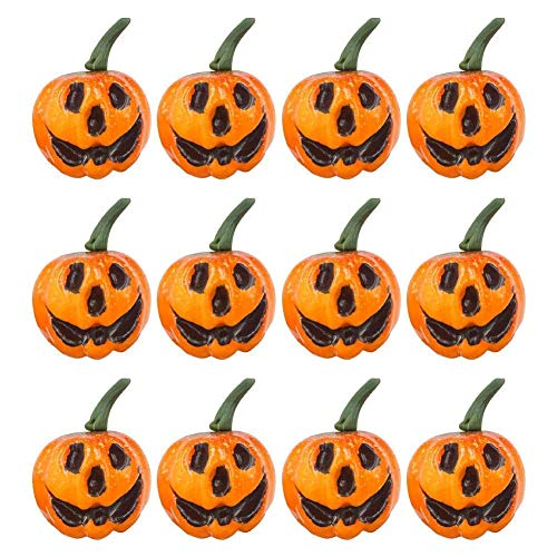 Saundra Peal Decorative Pumpkins for Halloween Artificial Small Carved Pumpkins for Fall Halloween Party Garden Home Harvest Decoration Crafts Pack of 12