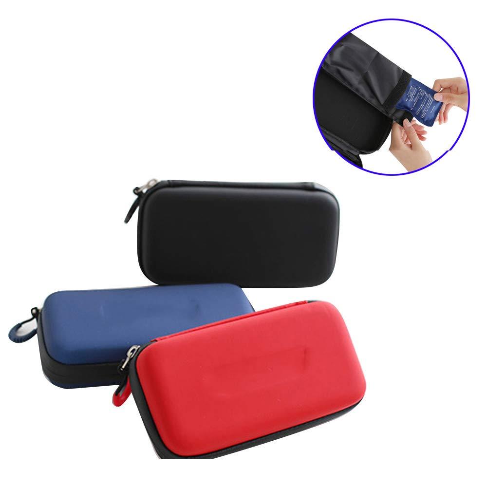 インスリンクーラーバッグポータブルInsulatedバッグ糖尿旅行ケースクーラーボックスIce Bag with 2 Ice ブラック B07FNLN6WL ブラック