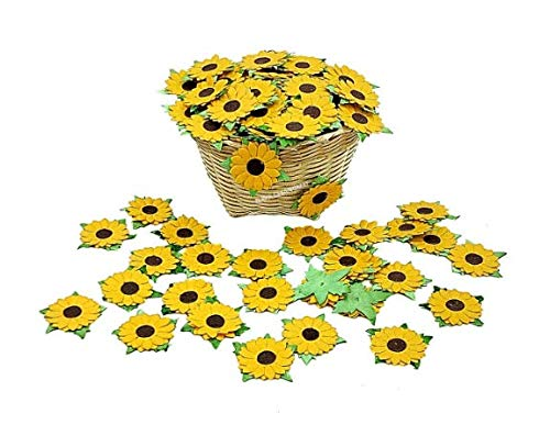 NAVA CHIANGMAI 50 Pcs Sunflowers Mulberry Paper Flowers with Brown Centre 1 inch Scrapbooking and Creative Craft Projects Handmade Thailand