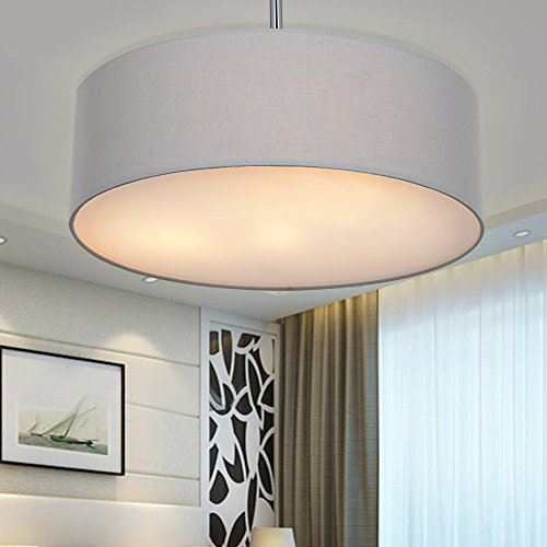 Ceiling Light, SPAKRSOR Modern Fabric Pendant Light Shade, Large Grey Drum Lampshade, Round Pendant Lamp, for Bedroom Living Room, Flush Chrome Matt, ...