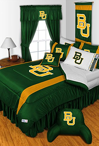 Baylor Bears KING Size 14 Pc Bedding Set (Comforter, Sheet Set, 2 Pillow Cases, 2 Shams, Bedskirt, Valance/Drape Set (84-inch drape length) & Matching Wall Hanging) - SAVE BIG ON BUNDLING! by Sports Coverage