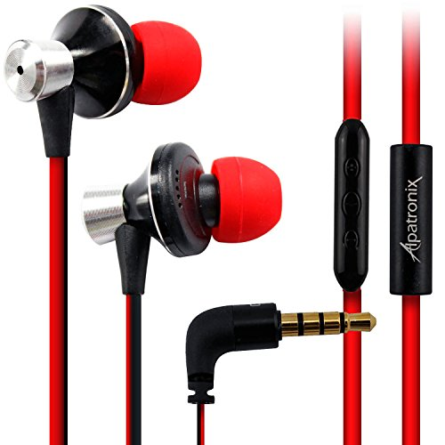 Headset Earbuds, Alpatronix® [EX100] High Performance 3-Button Volume & Playback Control Tangle-Free Stereo In-Ear Earphones with Built-in Microphone & Noise-Isolating Headphones Compatible with iPhone 6S Plus, 6S, 6 Plus, 6, SE, 5S, 5C, 5, 4S, 4 / iPad 4, 3, 2, 1, Mini, Air, Pro / iPod Touch, Nano, Shuffle, Macbook & iMac - (Red/Black)