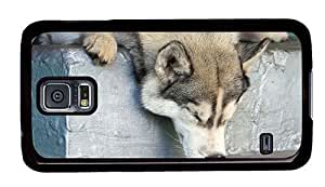 Hipster amazing Samsung Galaxy S5 Case sleepy husky PC Black for Samsung S5